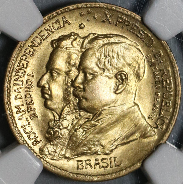 1922 NGC MS 65 Brazil 500 Reis Independence Centennial Commemorative Coin (20103103C)