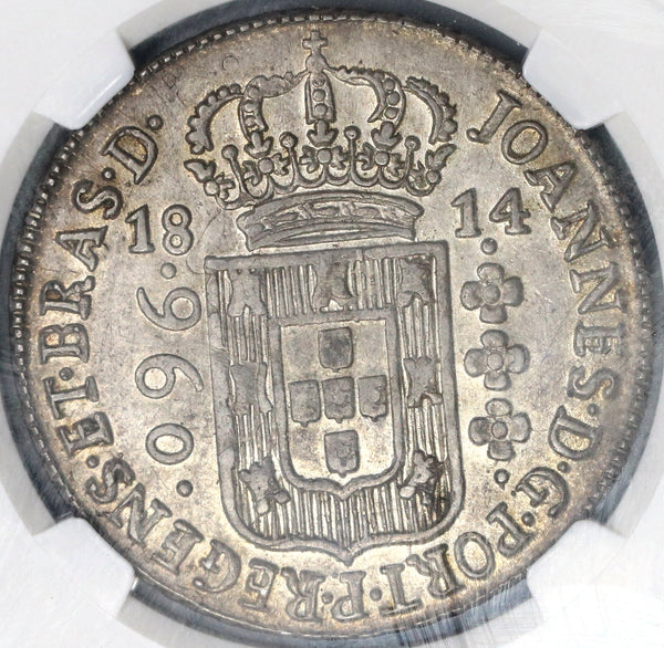 1814-B NGC AU 58 Brazil 960 Reis Over-strike on Spain 20 Reales Jose Napoloen 1811 Coin (19042101C)