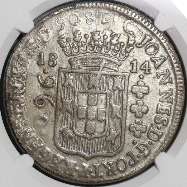 1814-B NGC XF Det Brazil 960 Reis Overstruck Peru 8 Reales 1805 Spain Colonial Coin (21011202C)
