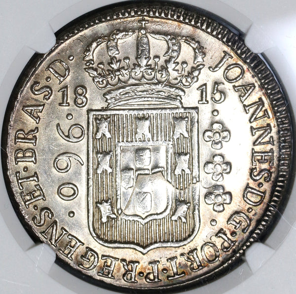 1815-B NGC UNC Det Brazil 960 Reis Struck over 8 Reales Spanish Colonial Coin (19081703C)