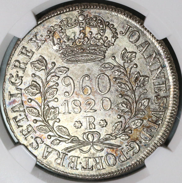1820-R NGC MS 62 Brazil 960 Reis Overstruck Bolivia Colonial Silver 8 Reales (19100406C)