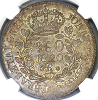 1820-R NGC MS 64 Brazil 960 Reis Overstruck Peru Silver 8 Reales (19080903C)