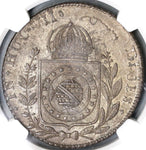 1826-R NGC MS 62 Brazil 960 Reis Overstruck Peru Silver 8 Reales (19082302C)
