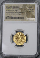 654 NGC MS Constans II Gold Solidus Byzantine Empire Mint State Constantinople Mint Coin (19010402C)
