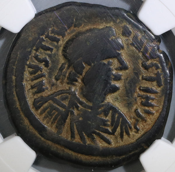 527 NGC F Justin I & Justinian I Byzantine Empire Follis Nicomedia Mint Rare Joint Reign Coin (18121602C)