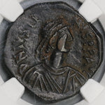518 Justin I Byzantine Empire Follis Nicomedia Mint Pedigree NGC XF Star (18062603C)