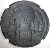 539 Justinian the Great Byzantine Dated Follis Cyzicus Mint Year 13 NGC VF (18101504C)