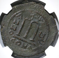 578 Tiberius II Constantine Byzantine Empire Follis NGC Ch XF Superb Coin (18111701C)