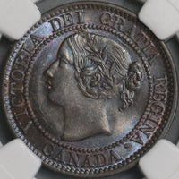 1859 NGC MS 63+ Canada 1 Cent Narrow 9 Victoria Coin (18042801D)
