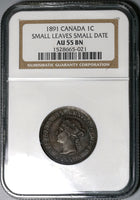 1891 NGC AU 55 Canada 1 Cent SL SD Victoria Small Leaves Small Date (20030303C)