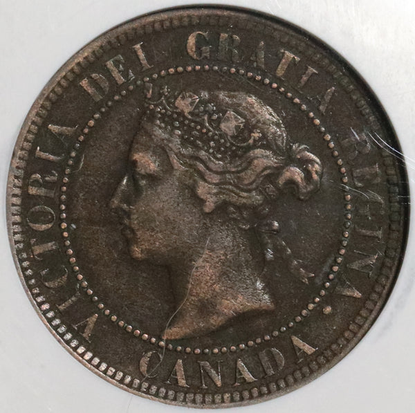 1891 NGC VF 35 Canada 1 Cent LL SD Victoria Large Leaves Small Date (20030304C)