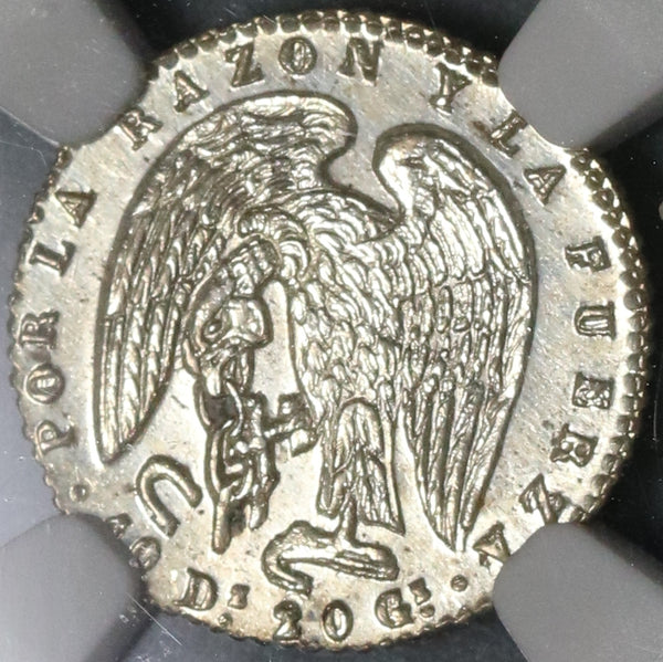 1845 NGC MS 62 Chile 1/2 Real Condor Bird Silver Mint State Coin (17052502D)
