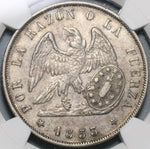 1853-So NGC AU 53 Chile 1 Peso Condor Silver Crown Coin (20071401D)