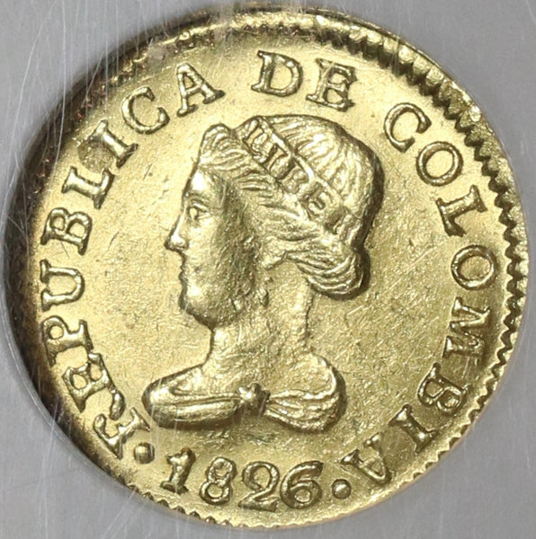 1826 NGC MS 62 Colombia Gold 1 Peso Bogota Mint State Coin POP 1/0 (21042102C)