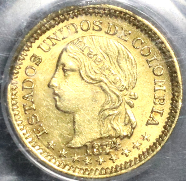 1874 PCGS MS 62 Colombia Gold 1 Peso Condor Bogota 14k minted Coin (20061601D)