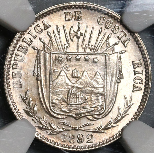 1892 NGC MS 64 Costa Rica 10 Centavos Mint State Silver Heaton Coin (20082701C)