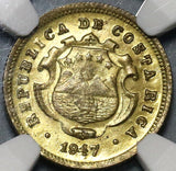 1947 NGC MS 65 Costa Rica 10 Centimos Mint State Brass Coin POP 6/0 (20101104C)