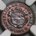 1929 NGC MS 64 Costa Rica 5 Centimos Mint State Bronze Coin (21030302D)
