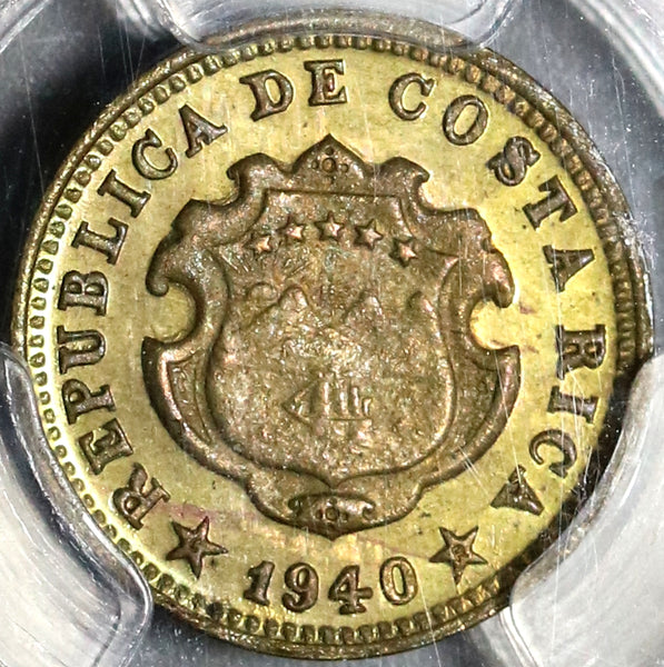 1940 PCGS MS 65 Costa Rica 5 Centimos Mint State Coin (20092602C)