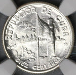 1952 NGC MS 64 Caribbean 10 Centavos Republic Anniversary Commemorative Silver Coin (19041401C)