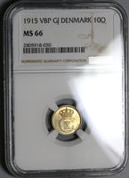 1915 NGC MS 66 Denmark 10 Ore Mint State Christain X Silver Coin POP 4/1 (19101402C)