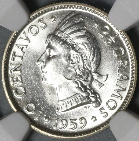 1959 NGC MS 65 Dominican Republic Silver 10 Centavos Scarce Coin (21021402C)