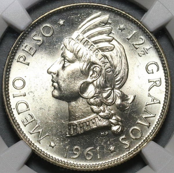 1961 NGC MS 65 Dominican Republic Medio 1/2 Peso Coin GEM BU (20101801C)