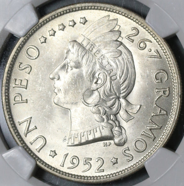 1952 NGC MS 64 Dominican Republic Peso 20K Minted Silver Coin (20101102C)