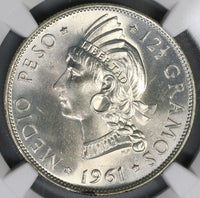 1961 NGC MS 66 Dominican Republic 1/2 Peso Silver Coin GEM BU (19012102C)