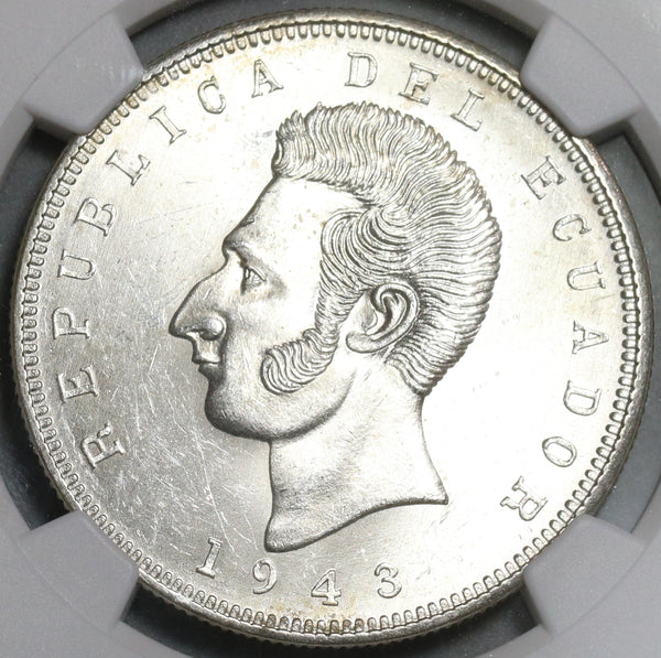 1943 NGC MS 63 Ecuador 5 Sucre Mexico City Mint State Coin (20102501C)