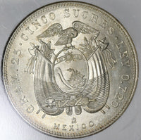 1943 NGC MS 64 Ecuador 5 Sucre Mexico City Mint State Coin (20102502C)