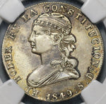 1849 NGC XF Det Ecuador 2 Reales Quito Mint Silver Coin (19100601C)