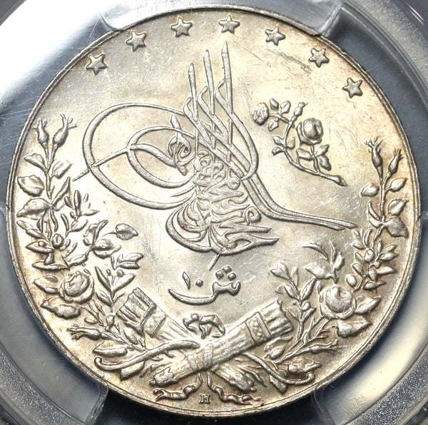 1914 PCGS MS 64 Egypt 10 Qirsh 1327/6 AH Ottoman Empire Silver Coin (19122702C)