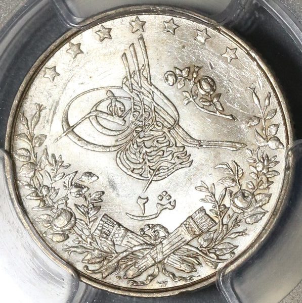1898 PCGS MS 64 Egypt Ottoman Empire 2 Qirsh 1293/24W Silver Key Date Coin (20011802C)