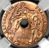 1938-A NGC MS 65 RED French Indo China Vietnam Mint State Coin (20062101C)
