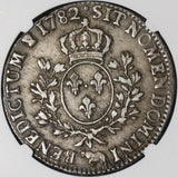 1782-Cow NGC XF 40 France Louis XVI Ecu Crown Silver Bern Coin (20112301C)