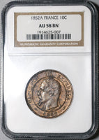 1852-A NGC AU 58 France 10 Centimes Napoleon III Coin (20021801C)