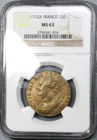 1792-A NGC MS 63 Louis XVI France 12 Deniers Rare Mint State Coin (19030904C)