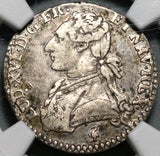 1779/8-A NGC VF 35 France Louis XVI 12 Sols Rare Overdate Silver Paris Coin POP 1/1 (20062104C)