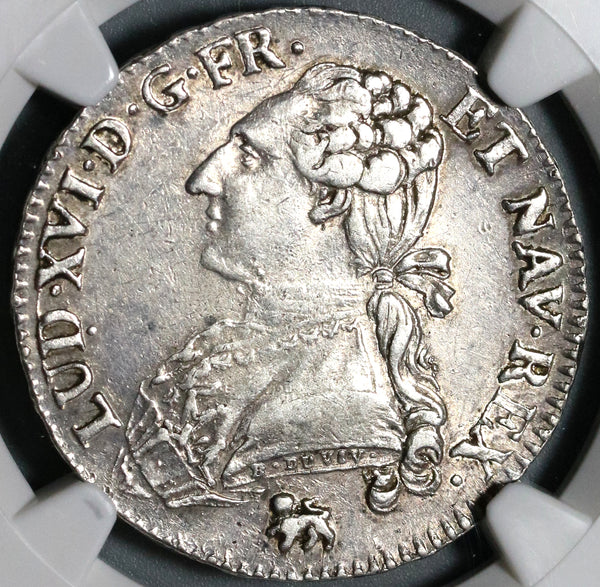 1791/0-A NGC XF 40 Louis XVI France 1/2 Ecu Unpublished Variety Royal Silver Coin (199111803C)