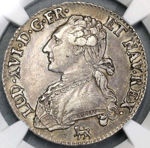 1791-A NGC XF 45  Louis XVI France 1/2 Ecu Royal Silver Coin (19032501C)
