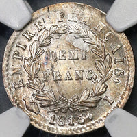 1813-I NGC MS 62 France 1/2  Franc Napoleon 97K Minted Silver Coin POP 1/0 (19030202C)