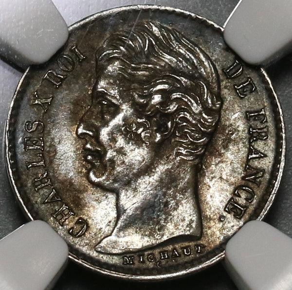 1829-W NGC AU 58 France 1/4 Franc Charles X 90% Silver Coin (19111802C)