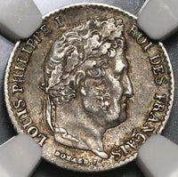 1836-K NGC AU 55 France 1/4 Franc Rare 9,500 Louis Philippe I Silver Coin POP 1/0 (20012101C)