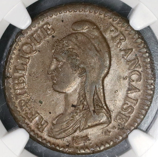 1796-W NGC AU 58 France An 5 Decime 10 Centimes Coin Rare 39K minted (19042904C)