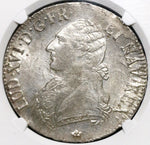 1786-M NGC MS 62 France Louis XVI Ecu Toulouse Mint State Silver Crown Coin (19062301C)