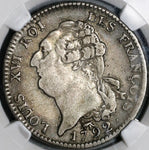 1792-A NGC Fine 15 France Louis XVI Ecu Constitution Paris Mint Coin (21021502C)