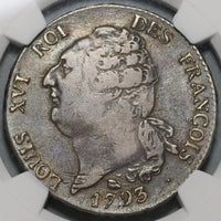 1793-M NGC VF 35 France Louis XVI Ecu Angel Constitution Toulouse Coin (19121402C)