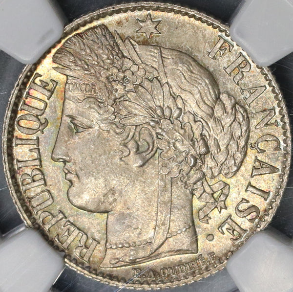 888-A NGC MS 65 France Silver 1 Franc Mint State Ceres Coin (18040502D)