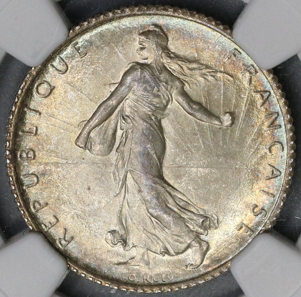 1910 NGC MS 64 France 1 Franc Sower Silver Mint State Coin (19052201C)